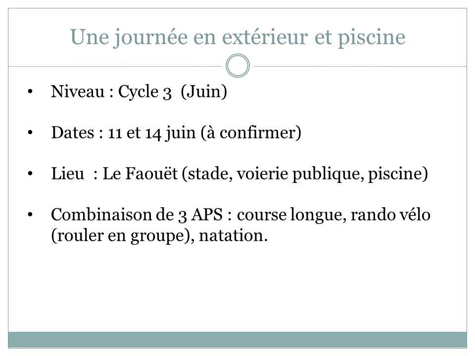Une journée en extérieur et piscine Niveau : Cycle 3 (Juin) Dates : 11 et 14 juin (à confirmer) Lieu : Le Faouët (stade, voierie publique, piscine) Co
