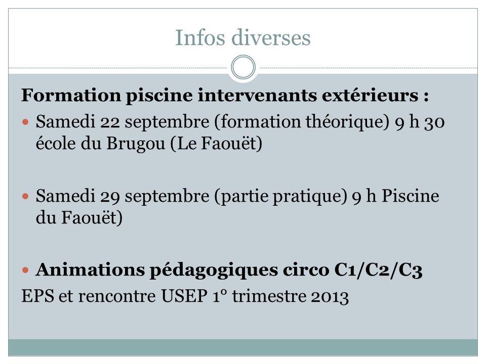 Infos diverses Formation piscine intervenants extérieurs : Samedi 22 septembre (formation théorique) 9 h 30 école du Brugou (Le Faouët) Samedi 29 sept