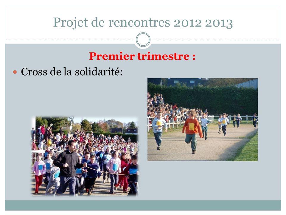 Projet de rencontres 2012 2013 Premier trimestre : Cross de la solidarité: