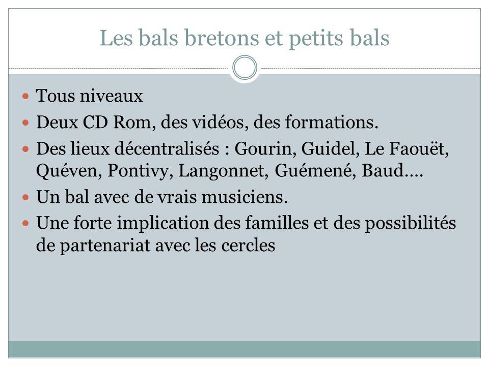 Les bals bretons et petits bals Tous niveaux Deux CD Rom, des vidéos, des formations. Des lieux décentralisés : Gourin, Guidel, Le Faouët, Quéven, Pon