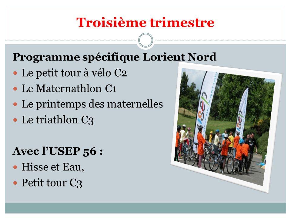 Troisième trimestre Programme spécifique Lorient Nord Le petit tour à vélo C2 Le Maternathlon C1 Le printemps des maternelles Le triathlon C3 Avec lUS