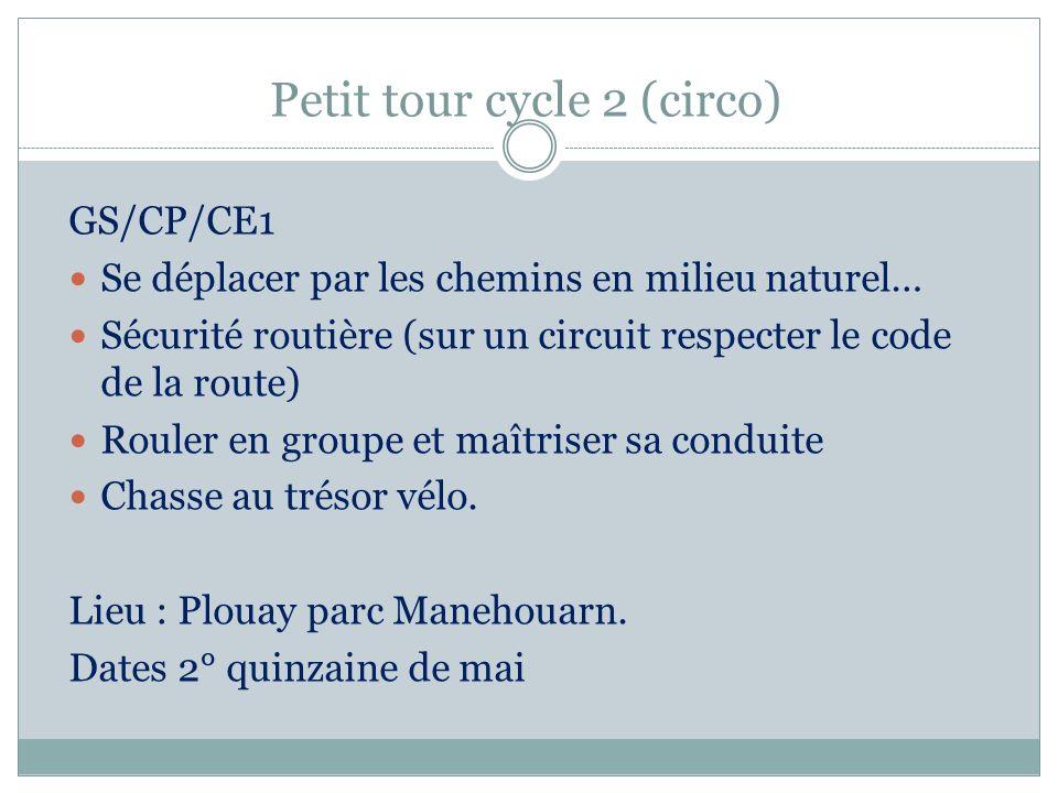 Petit tour cycle 2 (circo) GS/CP/CE1 Se déplacer par les chemins en milieu naturel… Sécurité routière (sur un circuit respecter le code de la route) R