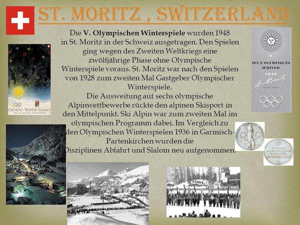 St. Moritz, SWITZERLAND Die V. Olympischen Winterspiele wurden 1948 in St. Moritz in der Schweiz ausgetragen. Den Spielen ging wegen des Zweiten Weltk