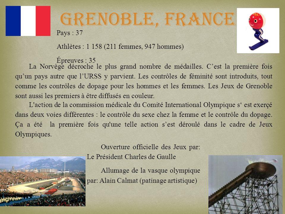 Grenoble, France La Norvège décroche le plus grand nombre de médailles. Cest la première fois quun pays autre que lURSS y parvient. Les contrôles de f