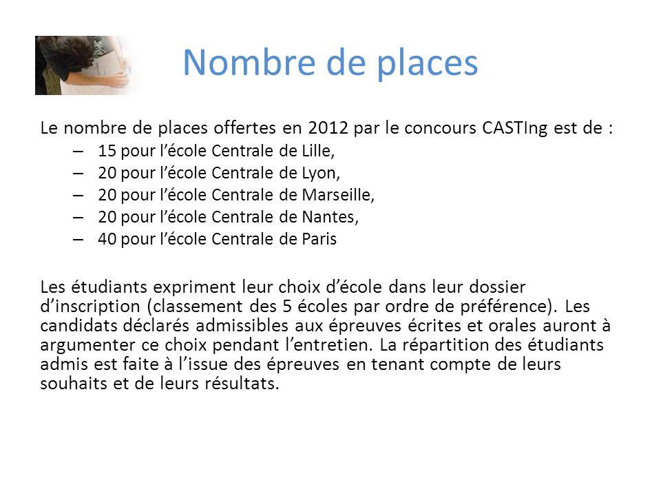Nombre de places Le nombre de places offertes en 2012 par le concours CASTIng est de : – 15 pour lécole Centrale de Lille, – 20 pour lécole Centrale d