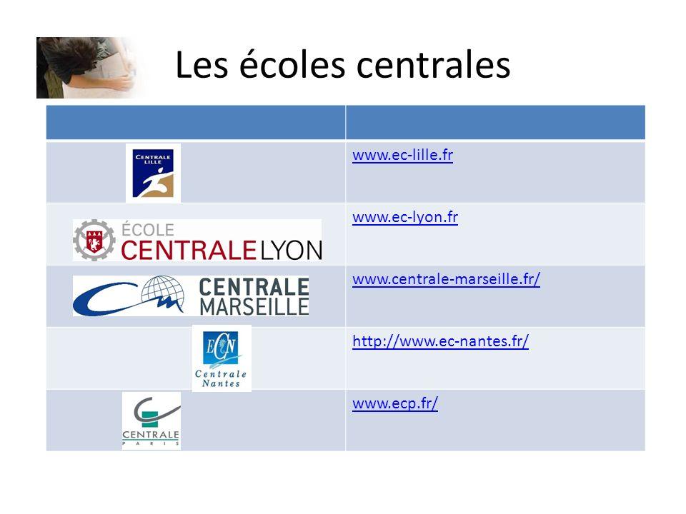 Les écoles centrales www.ec-lille.fr www.ec-lyon.fr www.centrale-marseille.fr/ http://www.ec-nantes.fr/ www.ecp.fr/