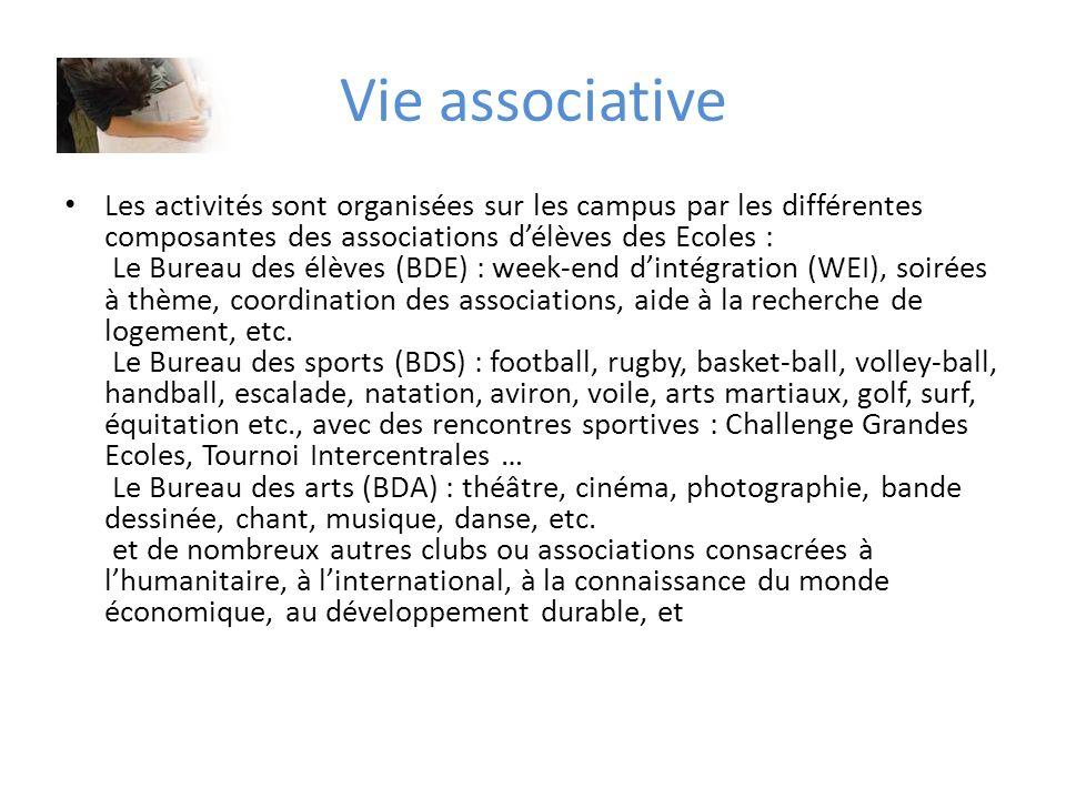 Vie associative Les activités sont organisées sur les campus par les différentes composantes des associations délèves des Ecoles : Le Bureau des élève