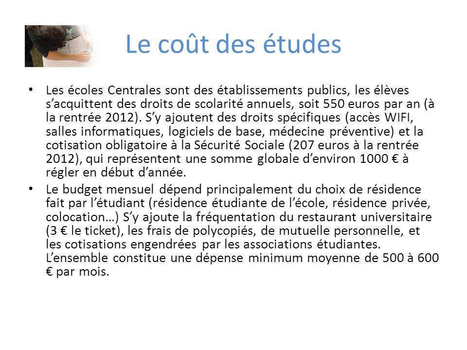 Le coût des études Les écoles Centrales sont des établissements publics, les élèves sacquittent des droits de scolarité annuels, soit 550 euros par an