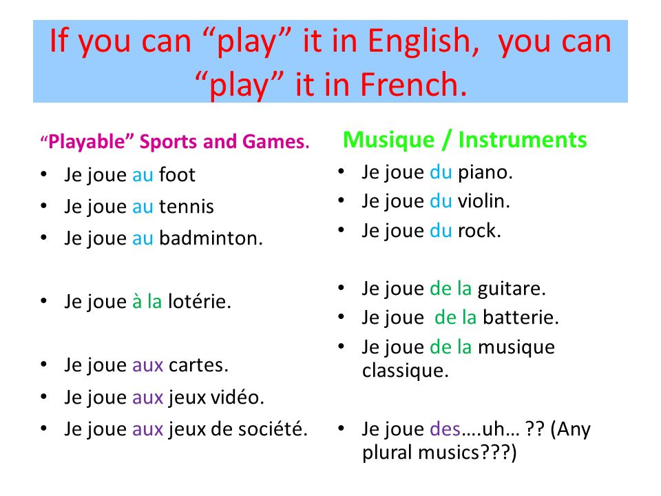 If you can play it in English, you can play it in French. Playable Sports and Games. Je joue au foot Je joue au tennis Je joue au badminton. Je joue à