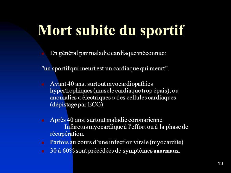 12 Mort subite du sportif 1000 à 1500 cas/an recensés en France, au cours ou au décours immédiat de leffort. 5 à 6000 infarctus myocardiques/an pendan