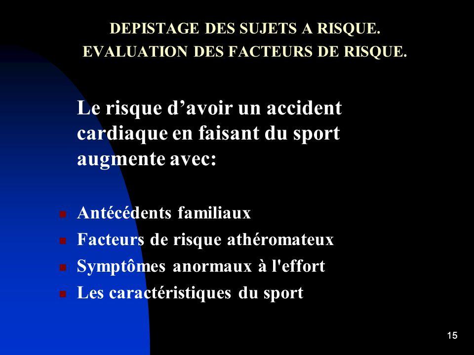 14 Le risque de faire un infarctus au décours dun effort physique intense est dautant plus élevé que le sujet est sédentaire. Le risque diminue avec l