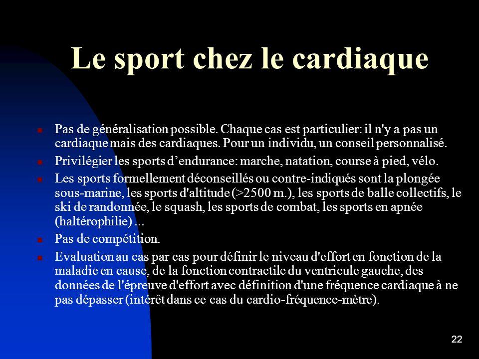 21 CONSEILS DE BONNE PRATIQUE SPORTIVE (hors sportifs entraînés ou malades cardiaques).