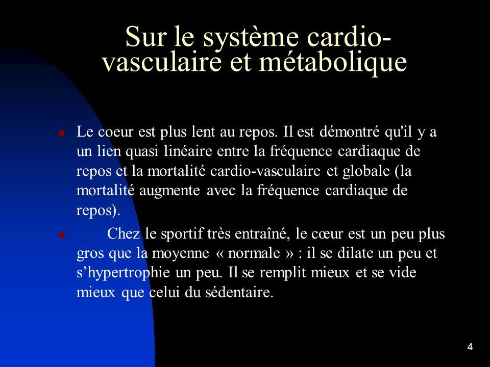 3 Sur le système cardio-vasculaire et métabolique L'effort entraîne une augmentation de la consommation d'oxygène par l'organisme (VO2). L'entraînemen