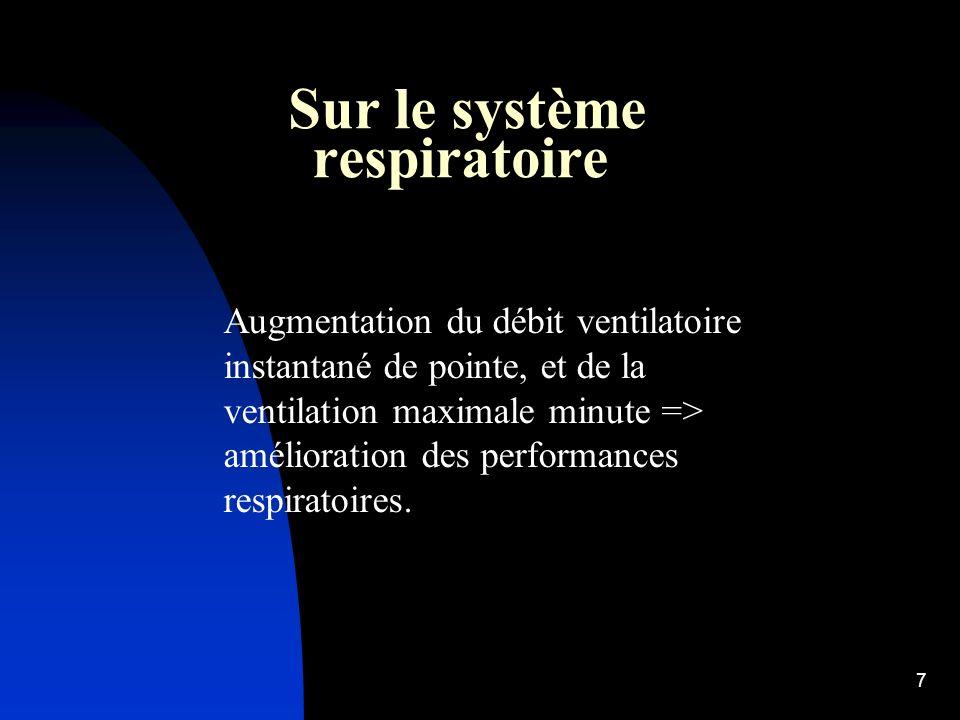 7 Sur le système respiratoire Augmentation du débit ventilatoire instantané de pointe, et de la ventilation maximale minute => amélioration des performances respiratoires.
