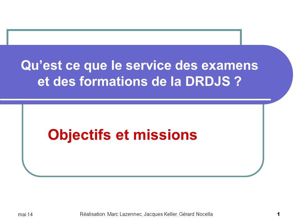 mai 14 1 Quest ce que le service des examens et des formations de la DRDJS ? Objectifs et missions Réalisation: Marc Lazennec, Jacques Keller, Gérard