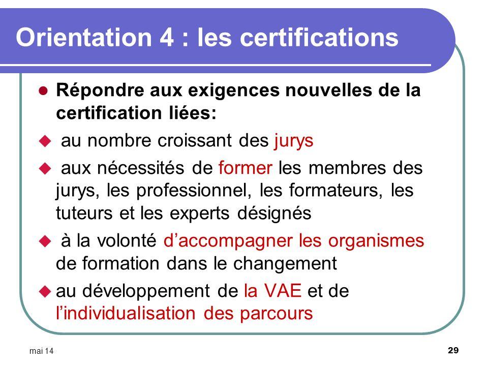 mai 14 29 Orientation 4 : les certifications Répondre aux exigences nouvelles de la certification liées: au nombre croissant des jurys aux nécessités