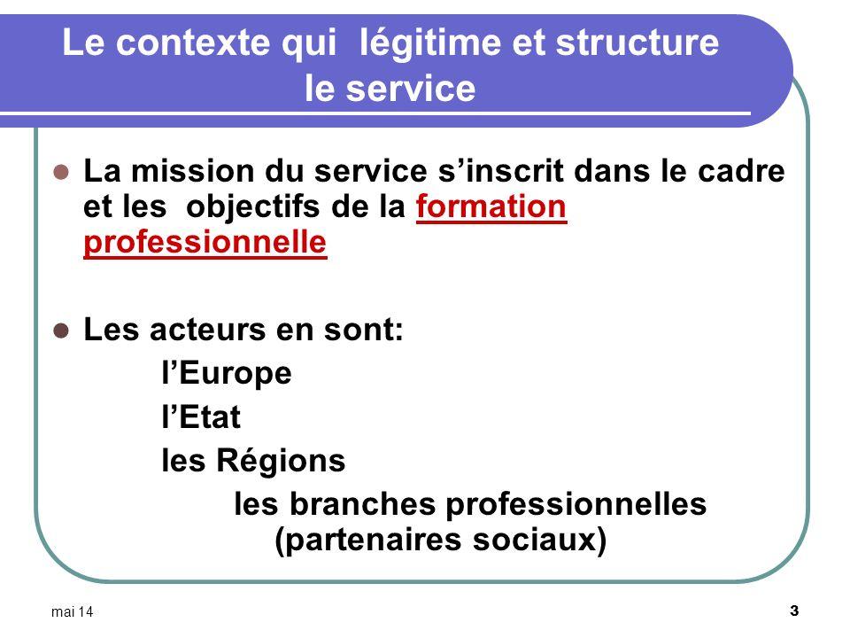 mai 14 4 Le cadre européen: les évolutions à considérer Le « processus de Bologne » 1999 pour lenseignement supérieur Système LMD (licence-master-doctorat ) La « déclaration de Copenhague » (2002) pour la formation professionnelle Projets de cadre européen des qualifications « European Qualification Framework » (EQF), classés en huit niveaux découpage en unités de crédits (UC)