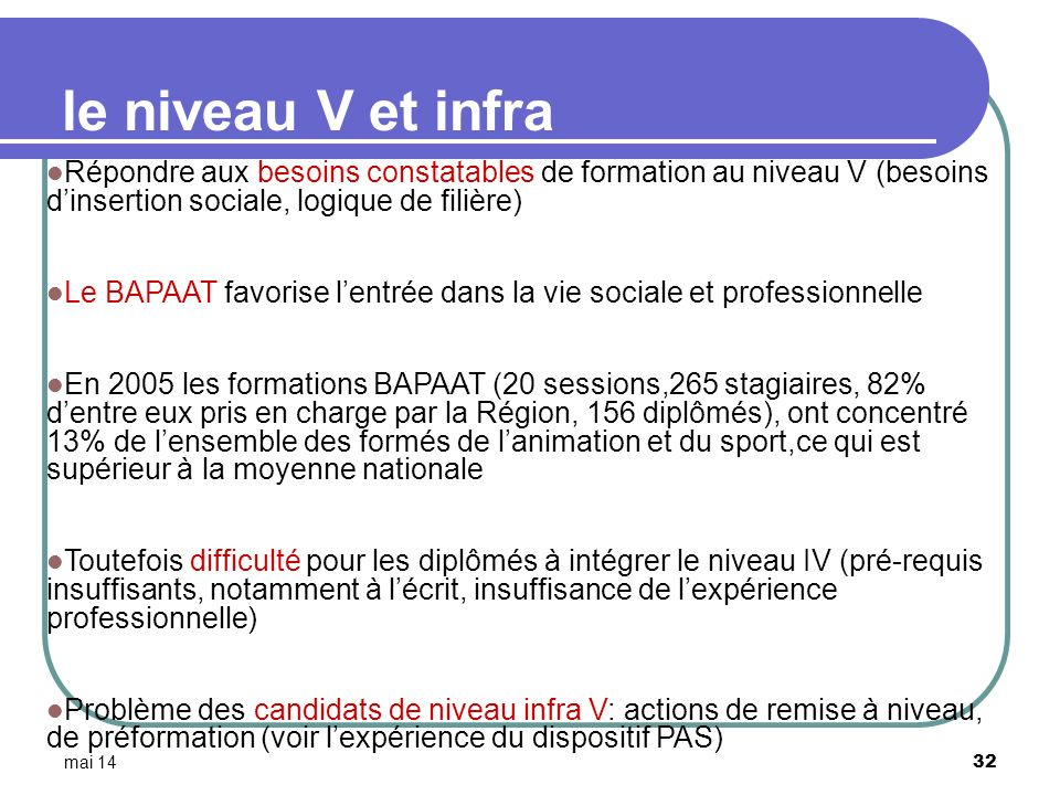 mai 14 32 le niveau V et infra Répondre aux besoins constatables de formation au niveau V (besoins dinsertion sociale, logique de filière) Le BAPAAT f