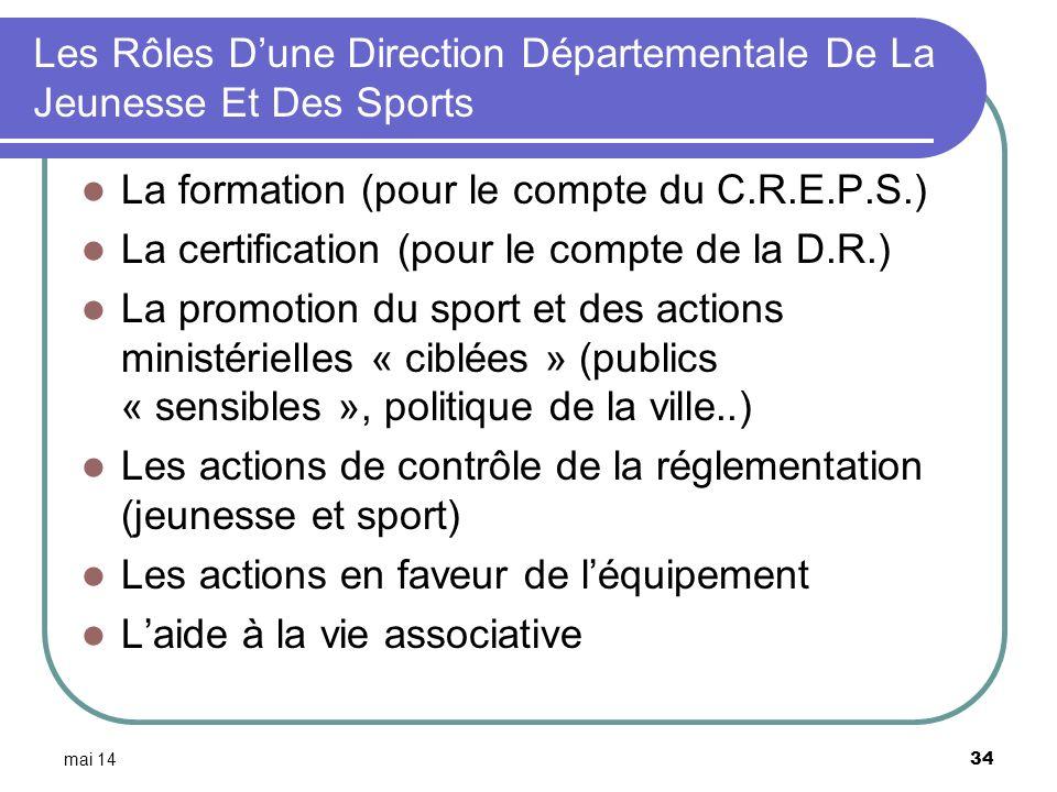 mai 14 34 Les Rôles Dune Direction Départementale De La Jeunesse Et Des Sports La formation (pour le compte du C.R.E.P.S.) La certification (pour le c