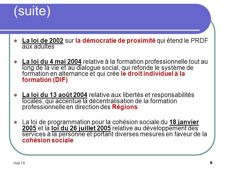 mai 14 6 (suite) La loi de 2002 sur la démocratie de proximité qui étend le PRDF aux adultes La loi du 4 mai 2004 relative à la formation professionne