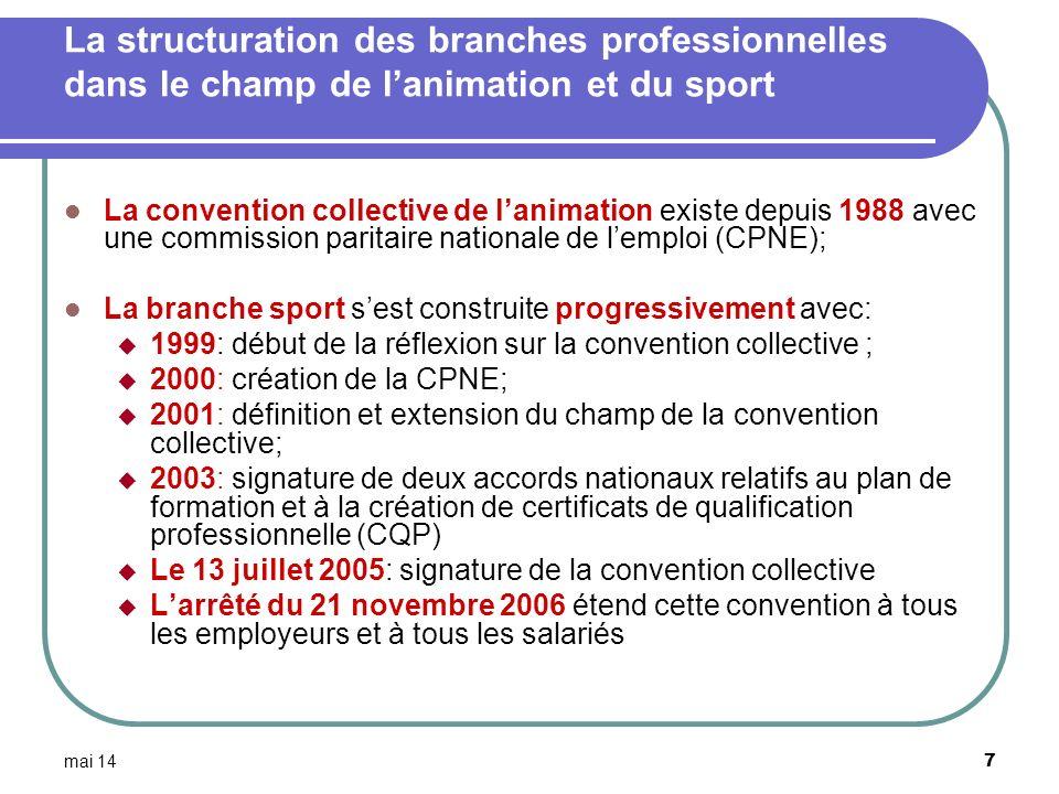 mai 14 7 La structuration des branches professionnelles dans le champ de lanimation et du sport La convention collective de lanimation existe depuis 1