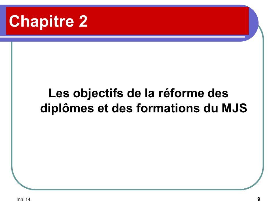 mai 14 9 Chapitre 2 Les objectifs de la réforme des diplômes et des formations du MJS