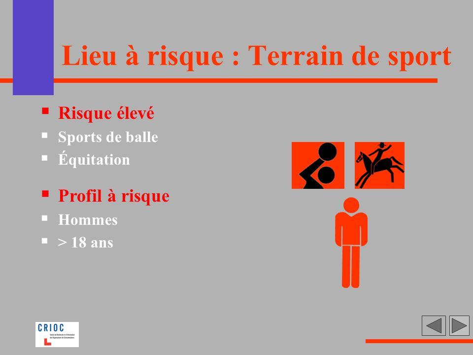Lieu à risque : Terrain de sport Risque élevé Sports de balle Équitation Profil à risque Hommes > 18 ans