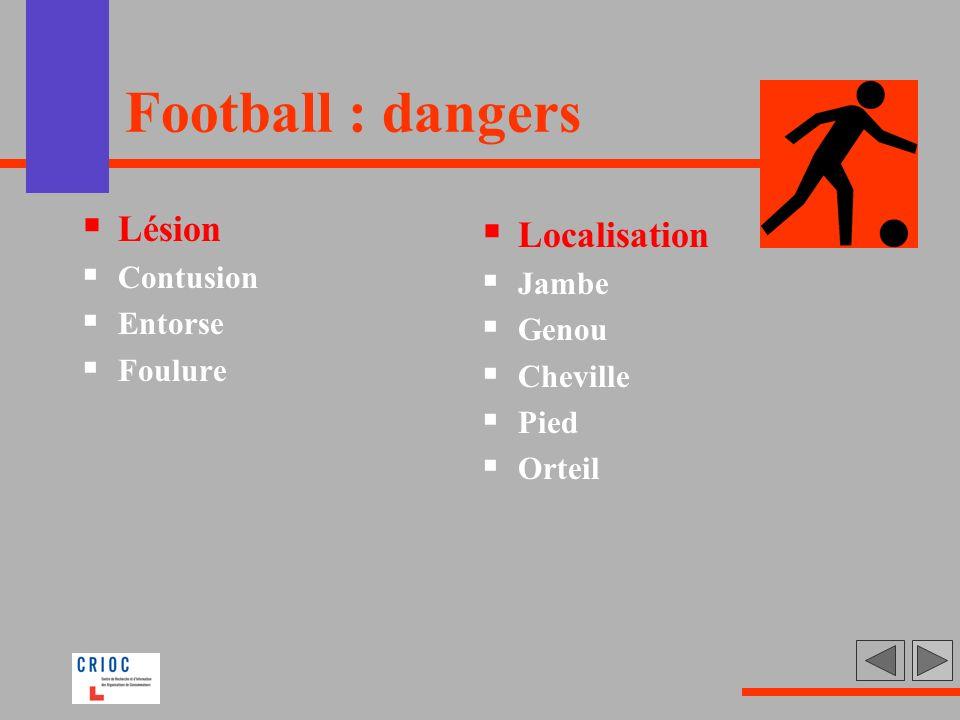 Football : dangers Lésion Contusion Entorse Foulure Localisation Jambe Genou Cheville Pied Orteil