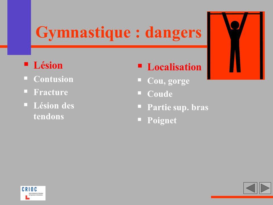 Gymnastique : dangers Lésion Contusion Fracture Lésion des tendons Localisation Cou, gorge Coude Partie sup. bras Poignet