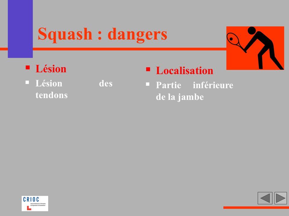 Squash : dangers Lésion Lésion des tendons Localisation Partie inférieure de la jambe