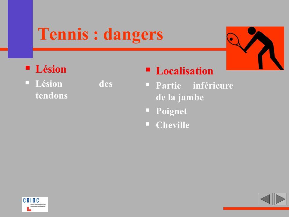 Tennis : dangers Lésion Lésion des tendons Localisation Partie inférieure de la jambe Poignet Cheville