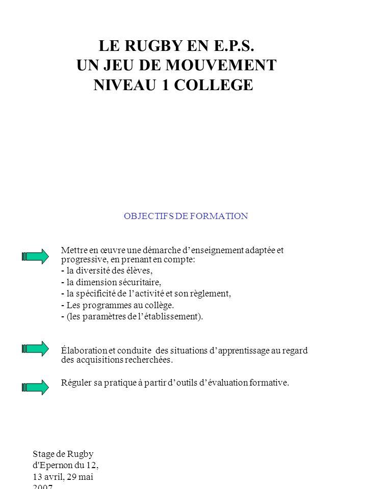 Stage de Rugby d Epernon du 12, 13 avril, 29 mai 2007 OBJECTIFS DE FORMATION Mettre en œuvre une démarche denseignement adaptée et progressive, en prenant en compte: - la diversité des élèves, - la dimension sécuritaire, - la spécificité de lactivité et son règlement, - Les programmes au collège.