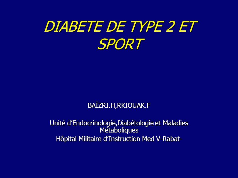 DIABETE DE TYPE 2 ET SPORT BAÏZRI.H,RKIOUAK.F Unité dEndocrinologie,Diabétologie et Maladies Métaboliques Hôpital Militaire dInstruction Med V-Rabat-