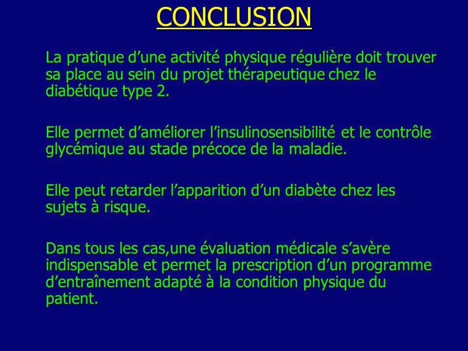 CONCLUSION La pratique dune activité physique régulière doit trouver sa place au sein du projet thérapeutique chez le diabétique type 2.