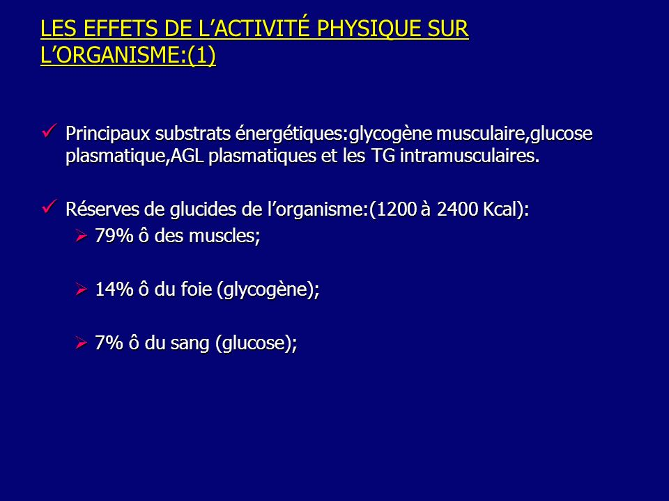 LES EFFETS DE LACTIVITÉ PHYSIQUE SUR LORGANISME:(2) AU REPOS AGL Oxydation Énergie inépuisable Adipocyte Muscle strié