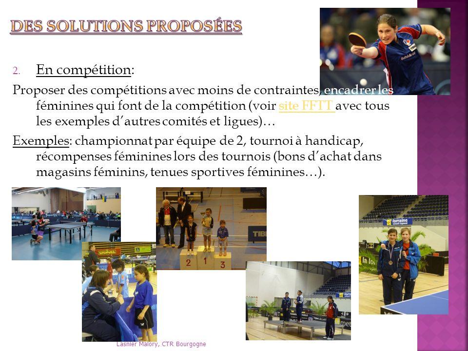 2. En compétition: Proposer des compétitions avec moins de contraintes, encadrer les féminines qui font de la compétition (voir site FFTT avec tous le