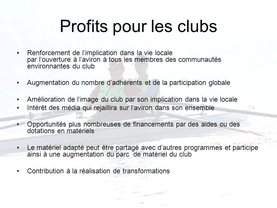 Profits pour les clubs Renforcement de limplication dans la vie locale par louverture à laviron à tous les membres des communautés environnantes du cl