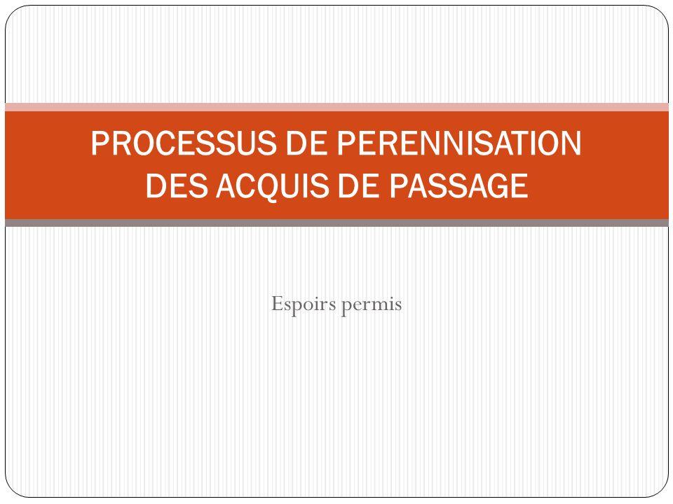 Espoirs permis PROCESSUS DE PERENNISATION DES ACQUIS DE PASSAGE