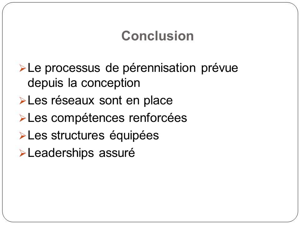 Conclusion Le processus de pérennisation prévue depuis la conception Les réseaux sont en place Les compétences renforcées Les structures équipées Leaderships assuré