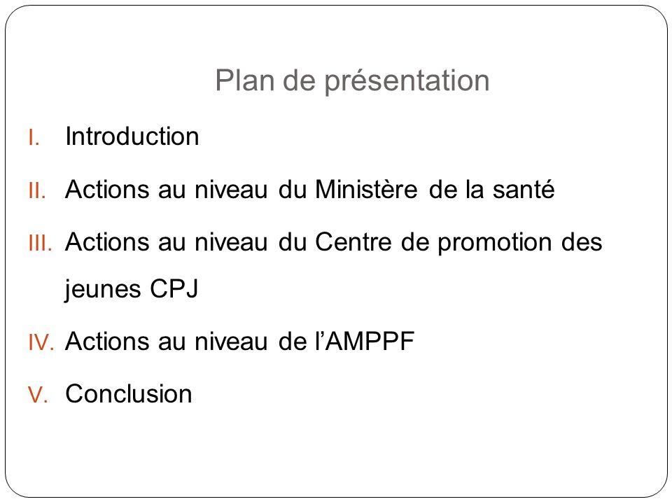 Plan de présentation I.Introduction II. Actions au niveau du Ministère de la santé III.