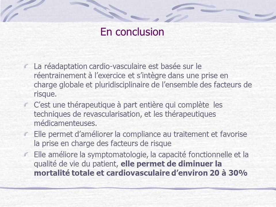En conclusion La réadaptation cardio-vasculaire est basée sur le réentrainement à lexercice et sintègre dans une prise en charge globale et pluridisci