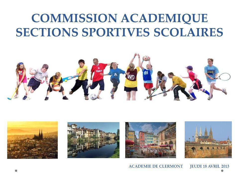 COMMISSION ACADEMIQUE SECTIONS SPORTIVES SCOLAIRES ACADEMIE DE CLERMONT JEUDI 18 AVRIL 2013