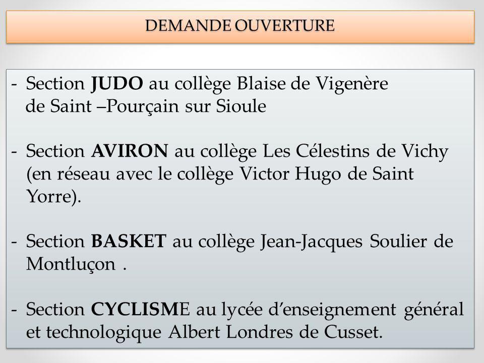 DEMANDE OUVERTURE DEMANDE OUVERTURE -Section JUDO au collège Blaise de Vigenère de Saint –Pourçain sur Sioule -Section AVIRON au collège Les Célestins de Vichy (en réseau avec le collège Victor Hugo de Saint Yorre).
