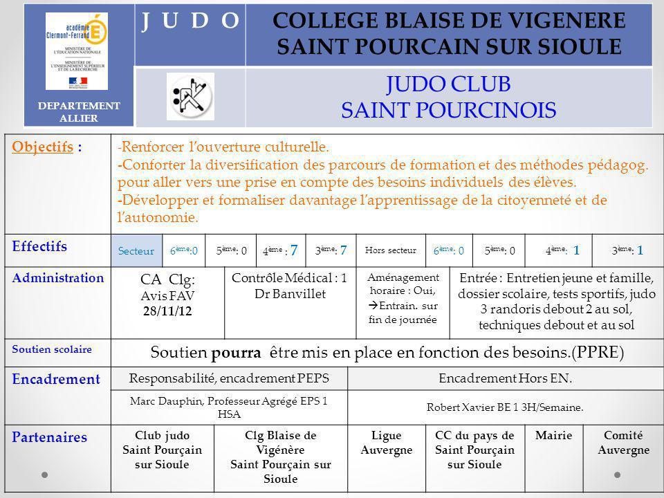 DEPARTEMENT ALLIER JUDOCOLLEGE BLAISE DE VIGENERE SAINT POURCAIN SUR SIOULE JUDO CLUB SAINT POURCINOIS Objectifs : - Renforcer louverture culturelle.