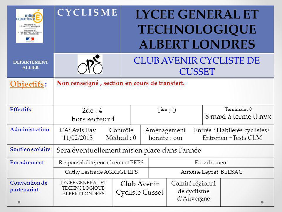DEPARTEMENT ALLIER CYCLISME LYCEE GENERAL ET TECHNOLOGIQUE ALBERT LONDRES CLUB AVENIR CYCLISTE DE CUSSET Objectifs : Non renseigné, section en cours de transfert.