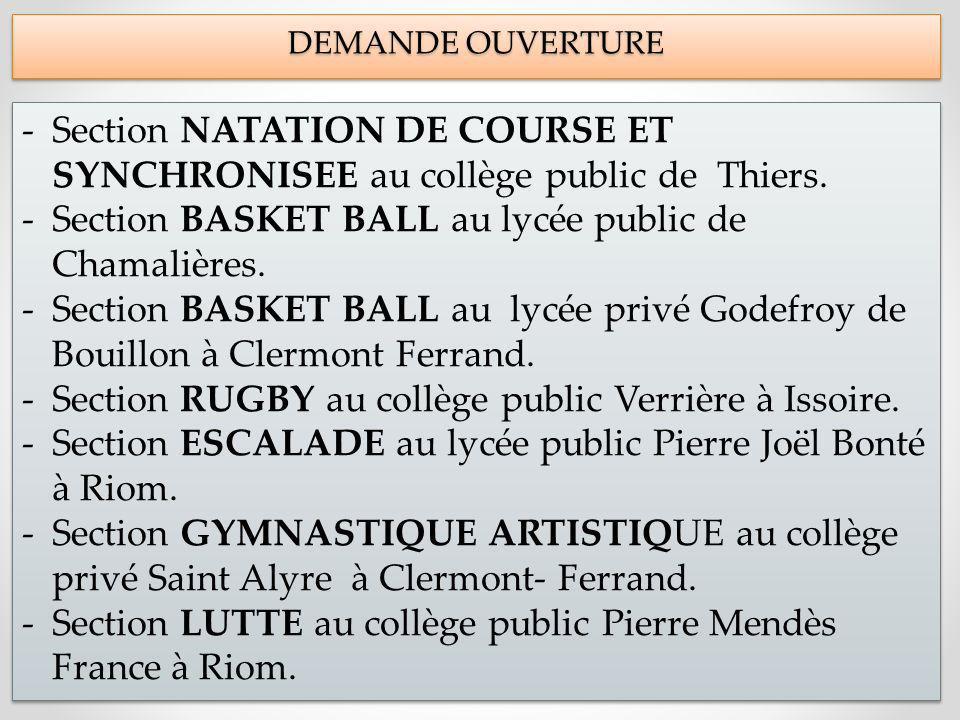 DEMANDE OUVERTURE DEMANDE OUVERTURE -Section NATATION DE COURSE ET SYNCHRONISEE au collège public de Thiers.