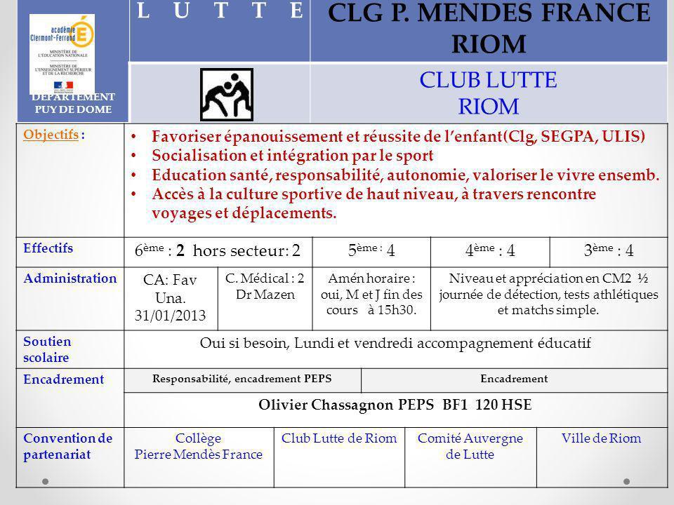 DEPARTEMENT PUY DE DOME LUTTE CLG P.