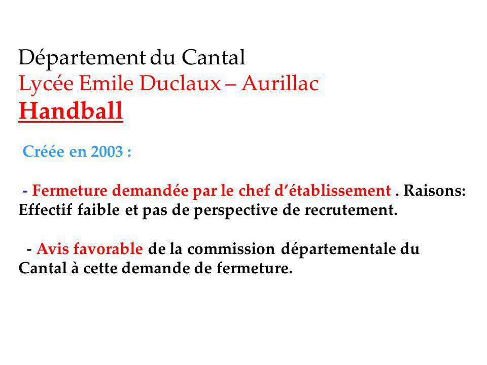 Département du Cantal Lycée Emile Duclaux – Aurillac Handball Créée en 2003 : - Fermeture demandée par le chef détablissement.
