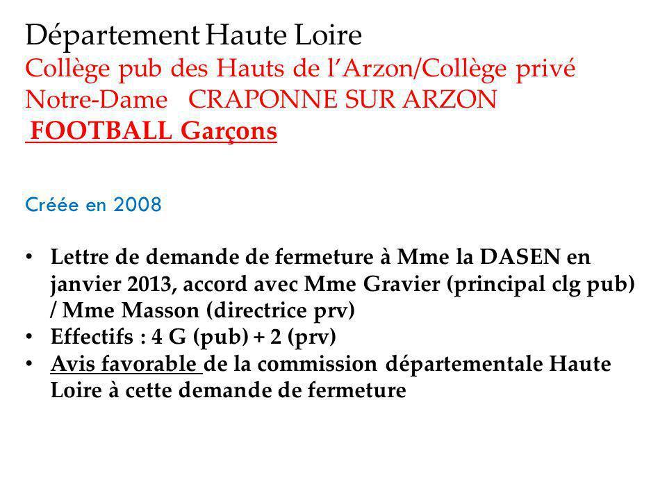 Département Haute Loire Collège pub des Hauts de lArzon/Collège privé Notre-Dame CRAPONNE SUR ARZON FOOTBALL Garçons Créée en 2008 Lettre de demande de fermeture à Mme la DASEN en janvier 2013, accord avec Mme Gravier (principal clg pub) / Mme Masson (directrice prv) Effectifs : 4 G (pub) + 2 (prv) Avis favorable de la commission départementale Haute Loire à cette demande de fermeture