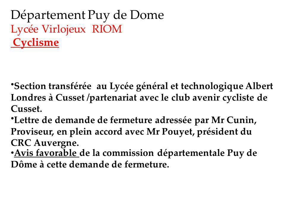 Département Puy de Dome Lycée Virlojeux RIOM Cyclisme Section transférée au Lycée général et technologique Albert Londres à Cusset /partenariat avec le club avenir cycliste de Cusset.